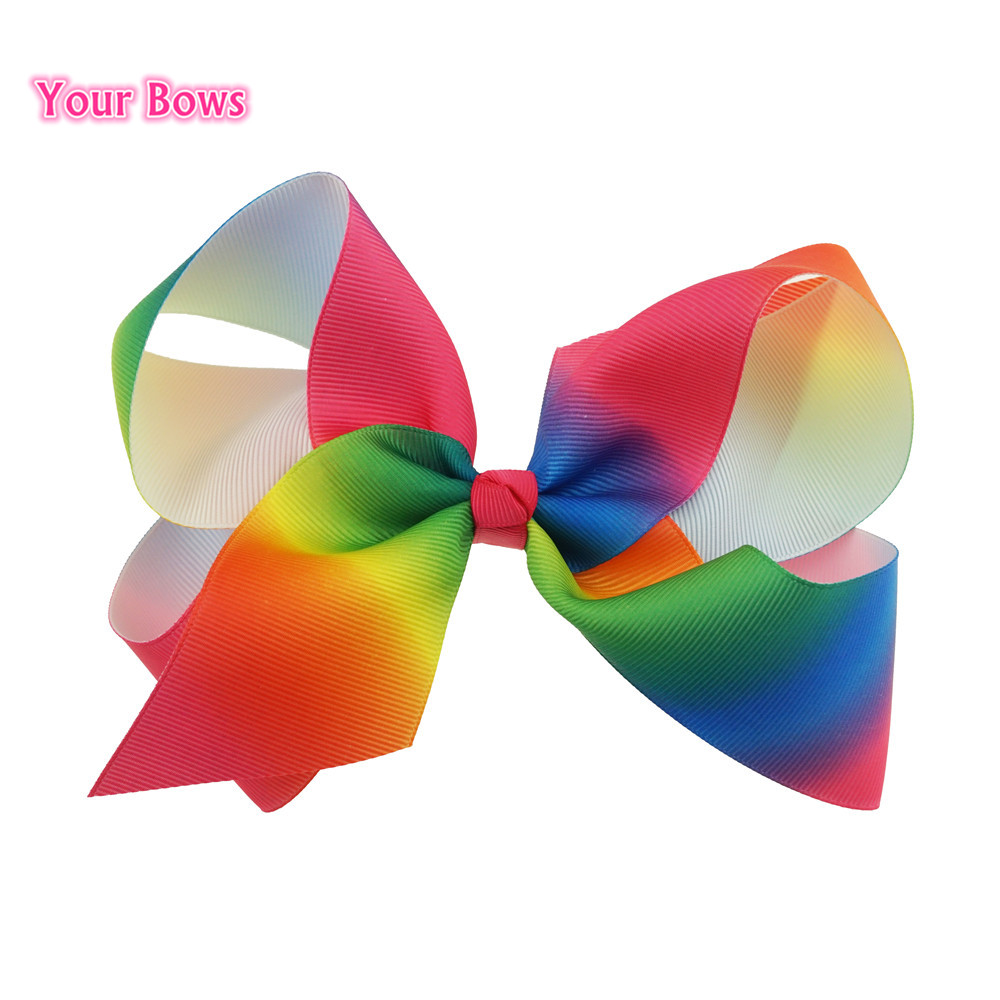 bows 6inch large rainbow hair