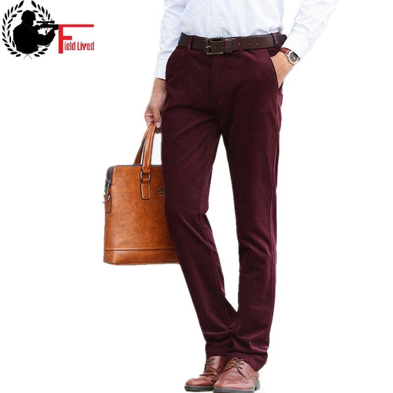 2019 Plus Size 42 Spring Mens Pant Classic Casual Business Stretch Trousers Male Regular Straight Pant Black Blue Khaki 4 Colors