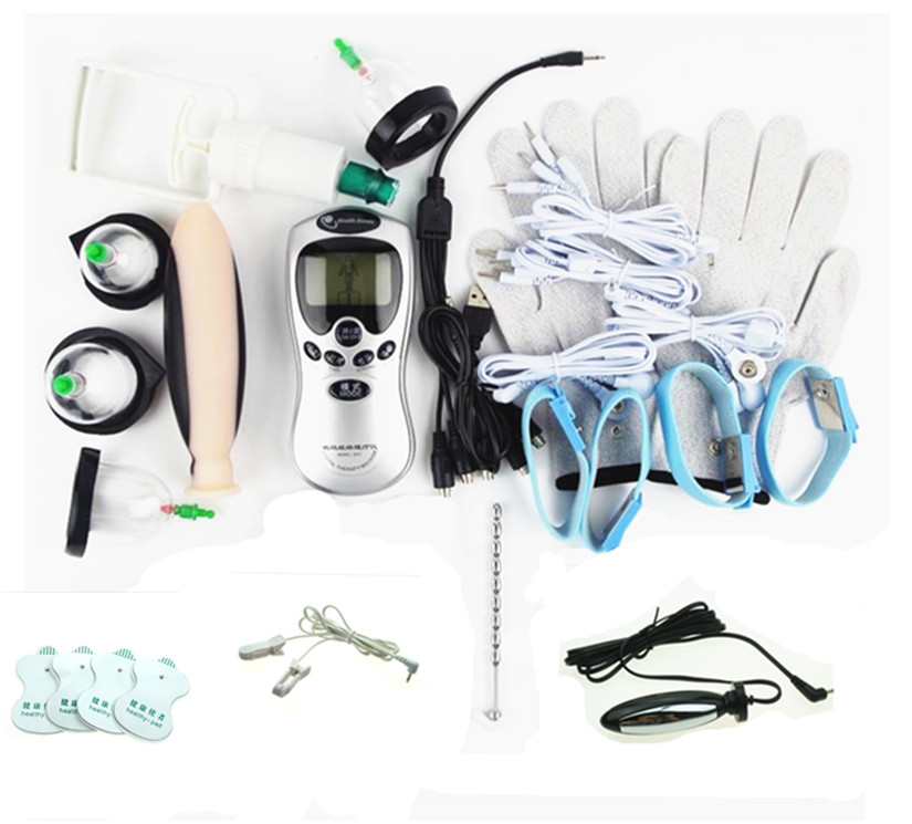 Adult BDSM Electro Shock Kits Nipple Clamps Penis Cock Ring Viaginal Massage Urethra Dilator Wand Ass Plug Sex Toys For Couple soft penis sleeve extender reusable condom penis extension cock sleeve penis extender sleeves cock ring adult sex toy for men