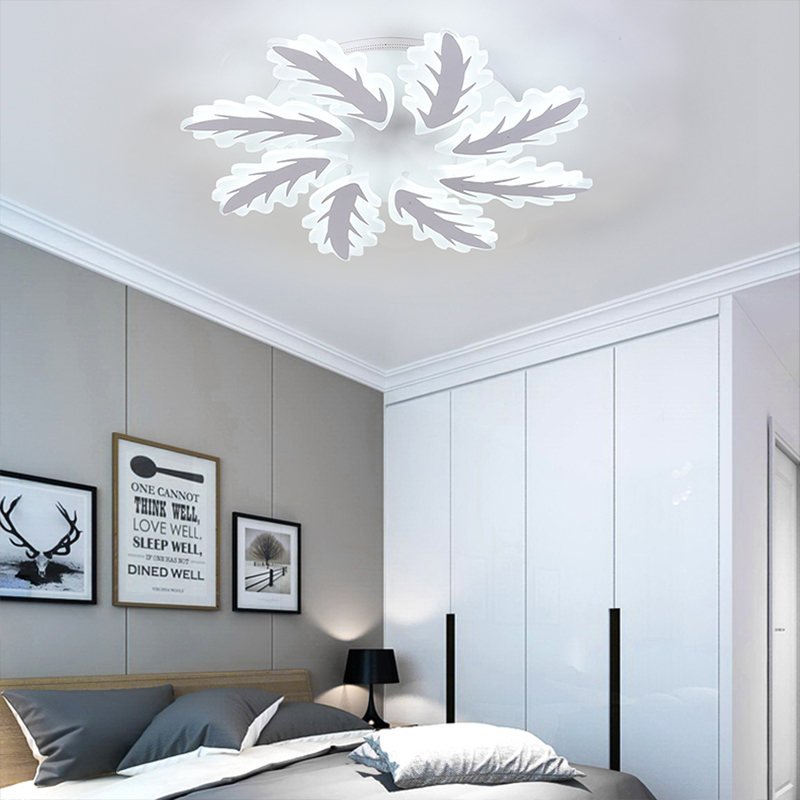 Modern Ceiling lights living room dining room bedroom LED ceiling lamp white acrylic cedar leaf art Light fixtur AC100-240V
