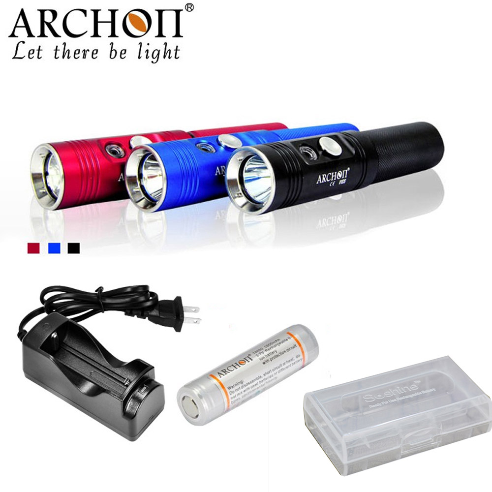 ARCHON V10S Diving Flashlight CREE XM-L U2 max 860 lumen 3 colors underwater 60 meters waterproof torch with battery charger archon d10u 3 mode white diving zooming flashlight underwater torch waterproof led light with cree xm l u2 black 1 x 18650