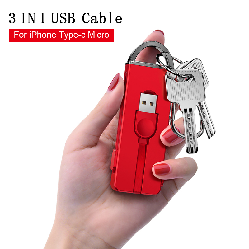 Oatsbasf USB Cable For iPhone XS Max X 8 7 6 fast Charger 3 in 1 keychain Cable For Xiaomi Pocophone F1 USB Mobile Phone Cable