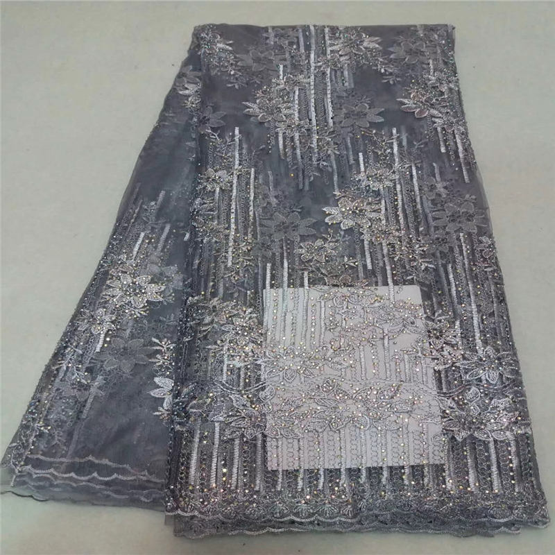 High Quality African Lace Fabric 2018 Latest African Guipure Lace Cream Nigerian Guipure Lace Fabric With Beads And Stone J5-5