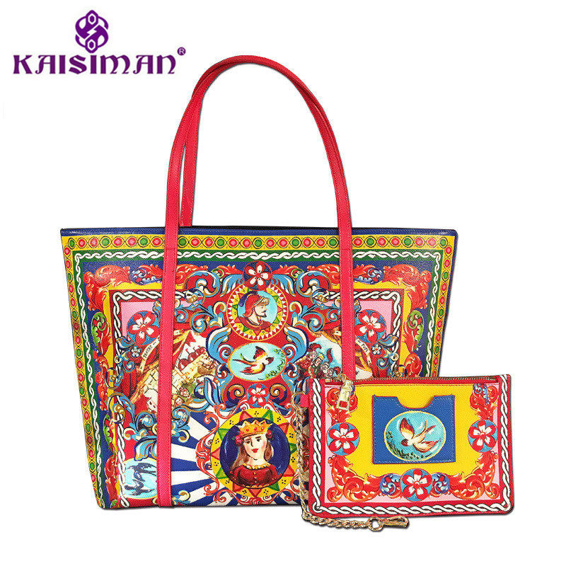 New Luxury Brand Fashion Printed Bulk Leather Bag Women Shopping Bag Ethnic Style Handbag Purse Lady Shoulder Messenger Bags Sac women designer leather smiley trapeze handbag luxury lady smiling face purse shoulder bag girl crossbody bag sac femme neverfull
