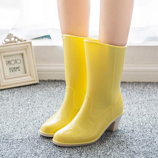 f29f504a8666 желтый дешево слипоны дождь коренастый обувь желе Японский мех резиновые  сапоги ...