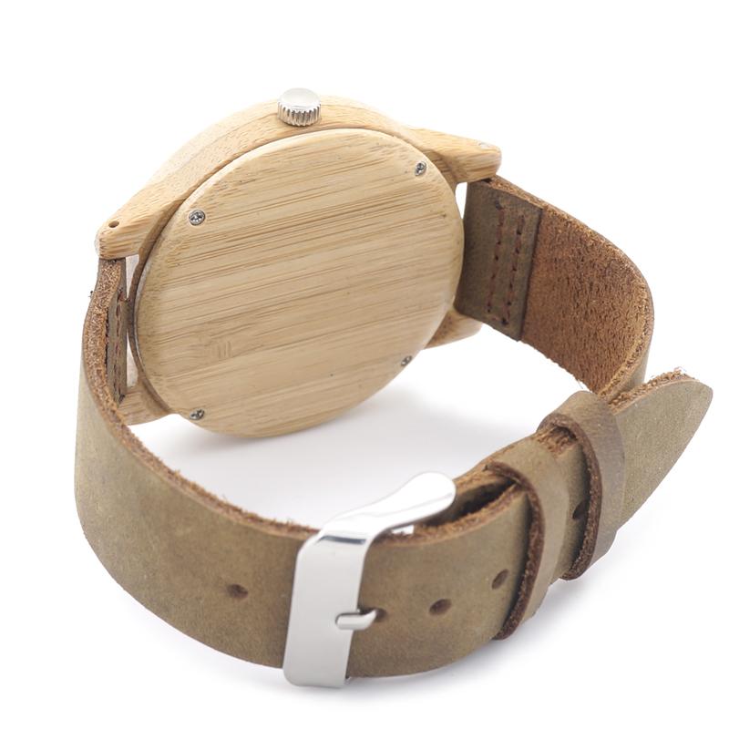 Reloj de Pulsera Casual Bambú y Cuero