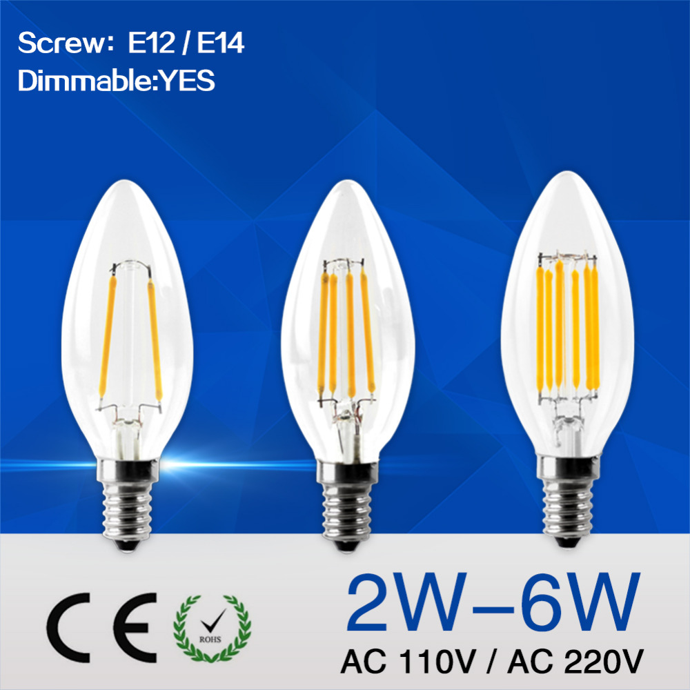 IMINOVO C35 LED Candle Bulb E12 E14 Dimmable LED Edison Light Lamp Retro 2W 4W 6W AC110 220V Filament Bulbs Warm/Cool Restaurant dimmable led filament candle light bulb e14 220v 240v 2w 4w 6w c35 c35l vintage edison bulb for chandelier cold warm white