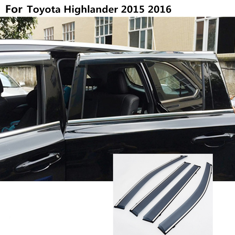 car body styling cover Stick lamp plastic Window glass Wind Visor Rain/Sun Guard Vent 4pcs For toyota Highlander 2015 2016 2017