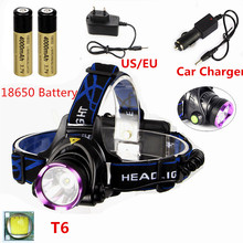 2500 Lumens XML T6 LED Usb Headlamp Head Light 18650 Flashlight Torch Linterna Frontal Headlight + Car-Charger+2x 18650 Battery