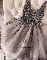 Модные Новый бисером v образным вырезом платье для выпускного вечера до колена Серый Тюль Платья для вечеринок vestido de festa