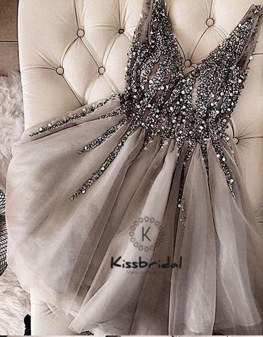 Fashion New Beaded V-neck Prom Dress Knee length Gray Tulle Party Dresses vestido de festa