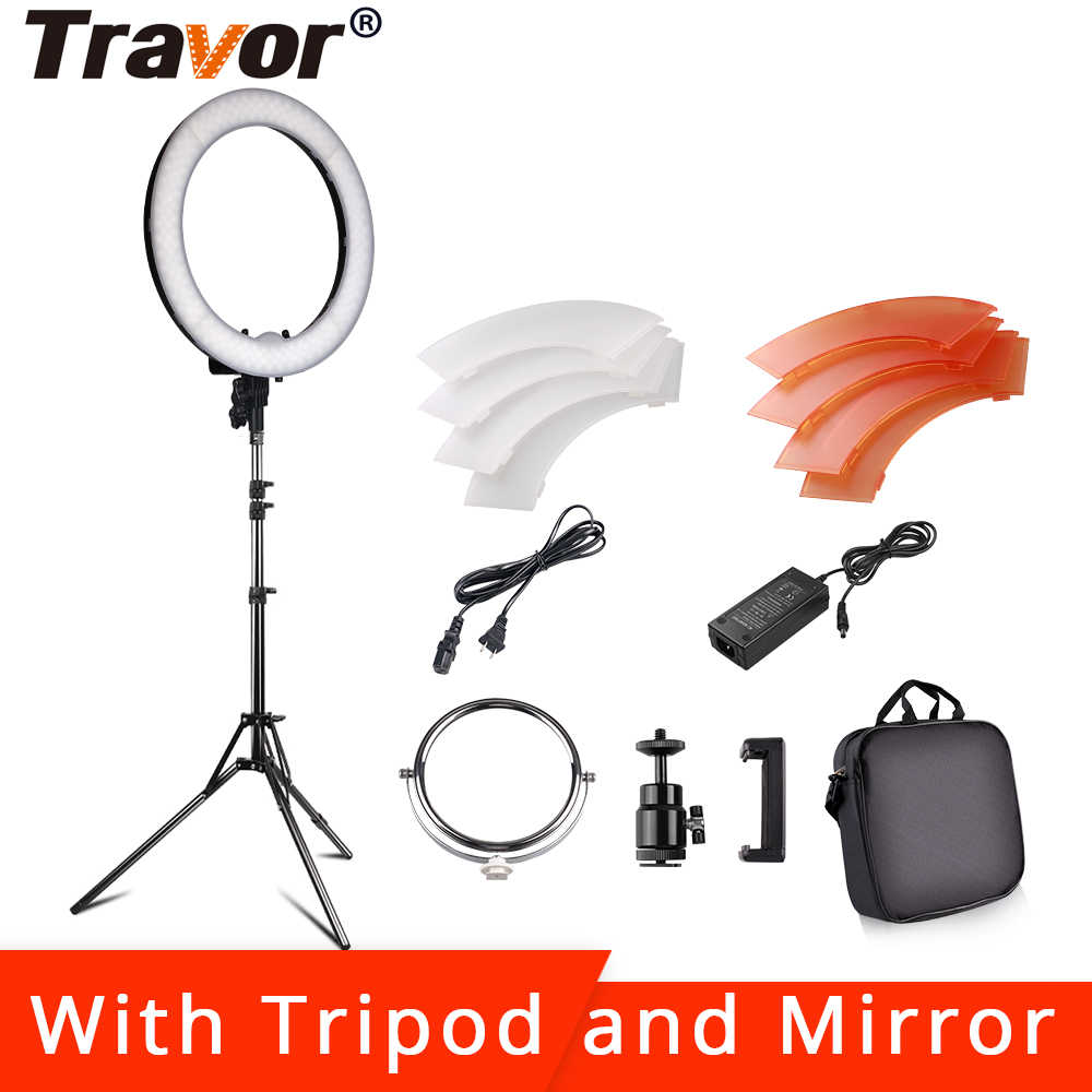 18 inch Dimmable ring light 240pcs led beads 55w 3200K 5600K photography ringlight lamp with tripod and Mirror for makeup light