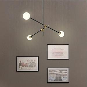 Image 2 - LuKLoy Post Modern Chandelier Branch Light Living Room Hall Iron Modo Glass Ball Popular Modern Pendant Lamp Lighting Fixture