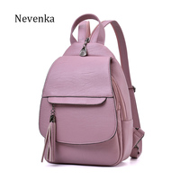 NEVENKA Women Tassel Backpack Ladies Soft Solid Fashion Backpacks Female Casual High Quality Zipper Satchels School