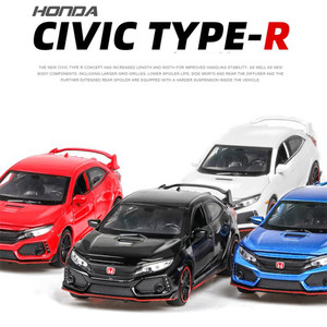Image 3 - 1:32 HONDA CIVIC TYPE R Diecasts & Toy Vehicles Metal Car Model Sound Light Collection Car Toys For Children Christmas Gift