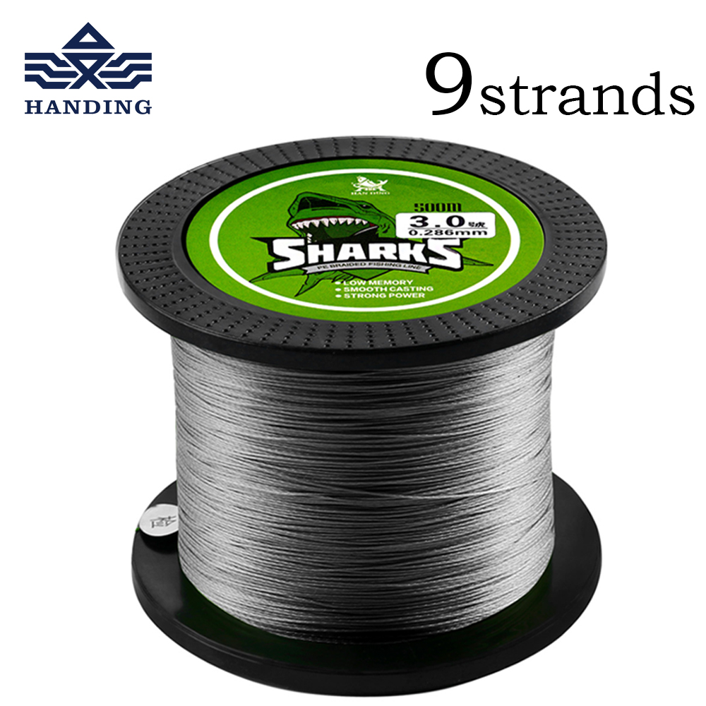 Handing 500M 9 Strands 18LB 96LB PE braided Fishing Line super Strong Multifilament carp Fishing cord for Saltwater Fishing