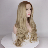 Fantasy Beauty Synthetic Lace Front Wig Ombre Blonde Color Full Wavy Heat Resistant Fiber Hair Half Hand Tied Wigs For Women