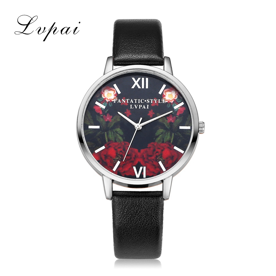Lvpai Brand Silver Fashion Luxury Watch Leather Flowers Quartz WristWatches Women Dress Watches Female Ladies Business Watch xinge brand fashion women quartz wrsit watches clock leather strap business watch ladies silver luxury female sport womens watch
