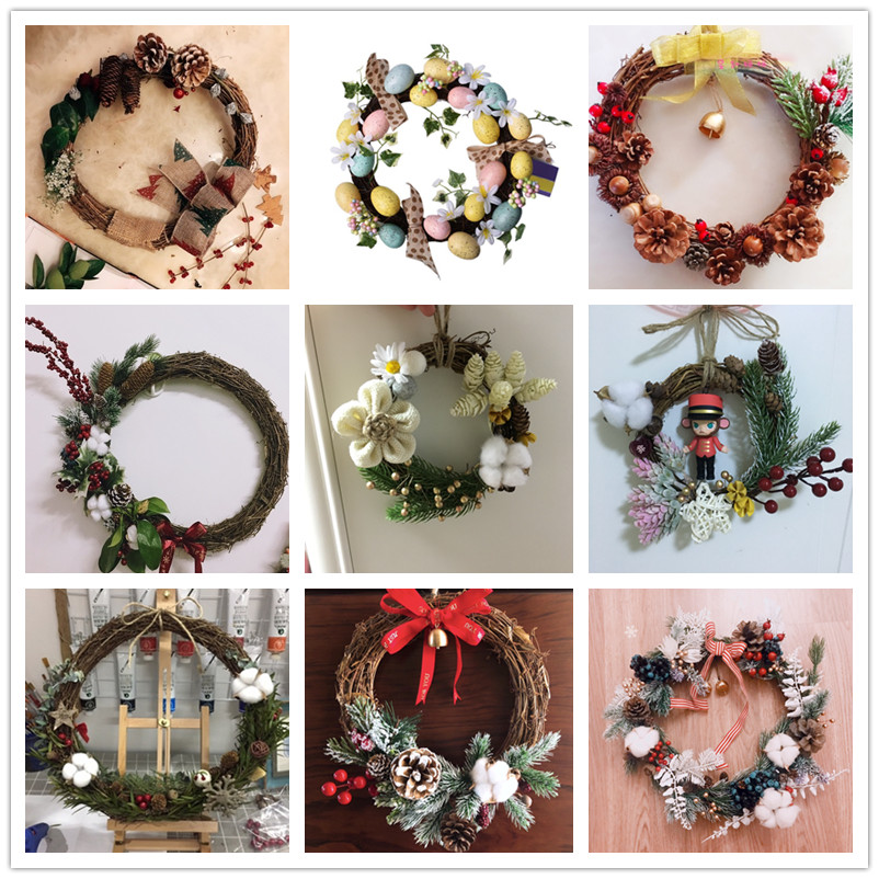 2019 Christmas Wreath Diy Ornaments Pendant Navidad Crafts