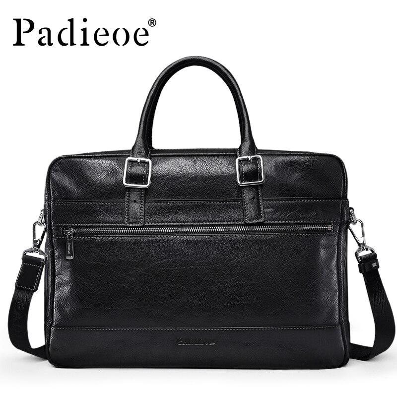 Padieoe font b Men s b font Genuine Leather Vintage Style Briefcase Top Quality Messenger Shoulder