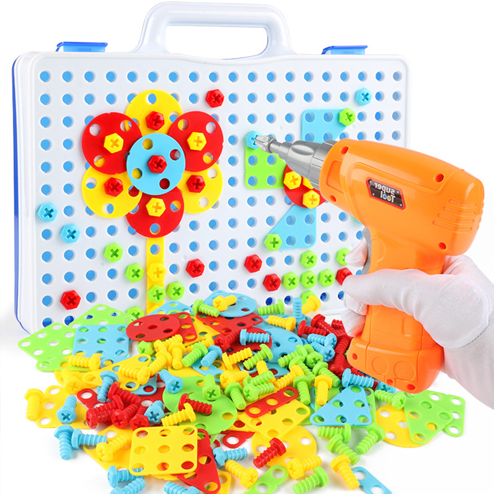 149/193Pcs Boys Toys Kids Drill Toys Electric Drill Screws Puzzle Assembled Mosaic Design Building Toys Creative Educational Toy