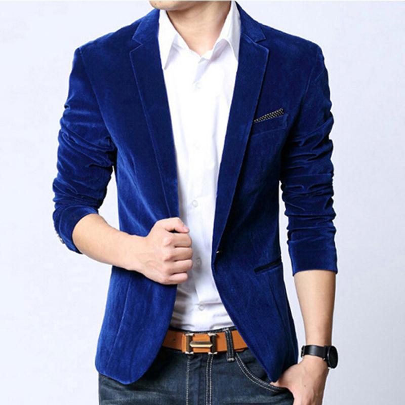 Online Get Cheap Mens Blazer Slim Fit Suit Jacket Navy Blue Velvet ...