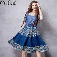Artka Women S Spring New Boho Style Ethinic Printed Wide Hem Dress O Neck Short Sleeve