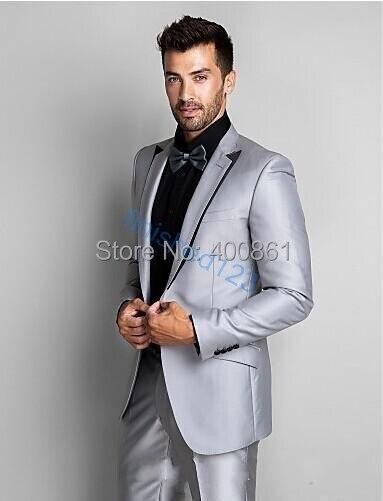 Prata tecido de cetim dos homens Blazer ternos do noivo smoking padrinho de casamento Prom ( Jacket + Pants + Bow Tie + Kerchief ) OK : 1237