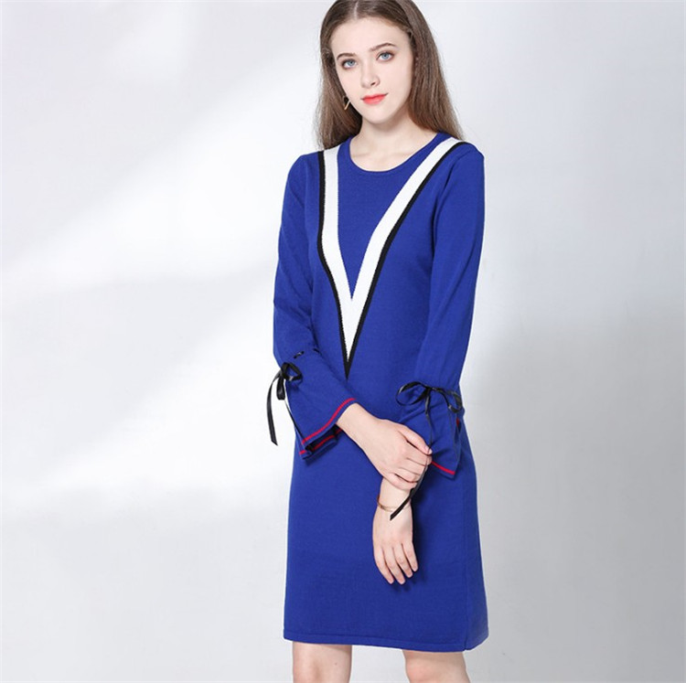 2018 Autumn Winter Women knitted Sweater Dress Casual Sexy Elegant Party Bandage Bodycon Flare Sleeve Bow Pencil Dress L277
