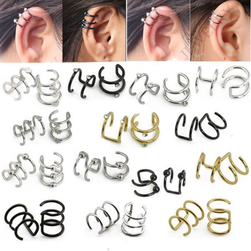 Fake Cartilage Clip-on Ring Non Pierced Clip On Closure Ring Ear Cuff Body Jewelry Sale Price helix Earrings Precise Illusion Captive Bead Rings