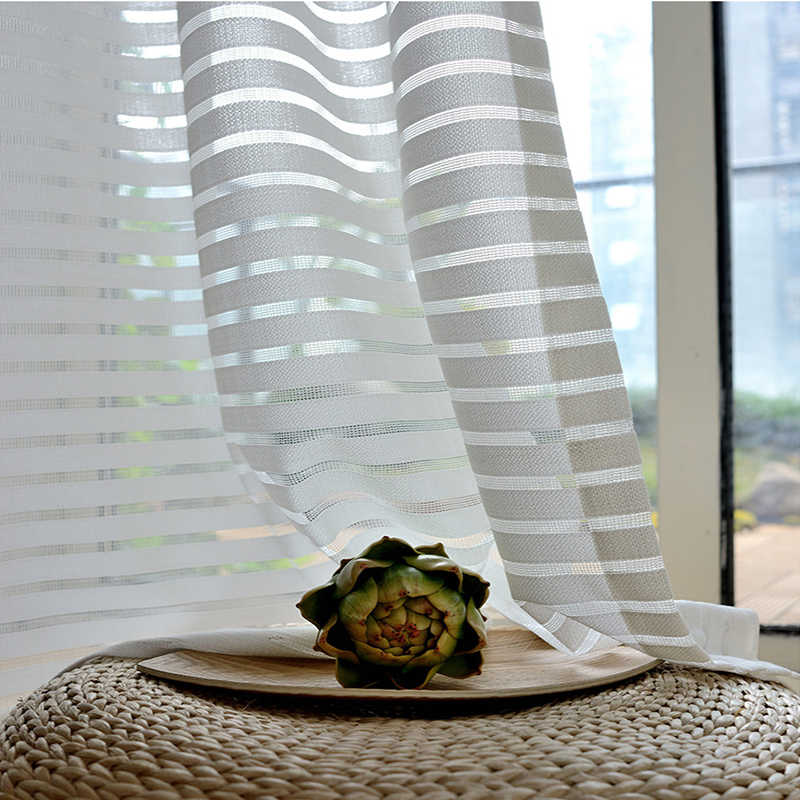 Simple White Jacquard Stripe Tulle Curtains For Living Room Kitchen New Window Screen Sheer For Bedroom Soft Roman Curtain Sw877 Curtains Aliexpress