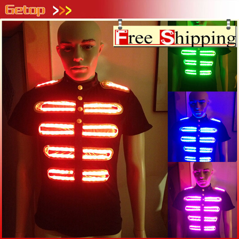 ZX RGB Remote Control Colorful LED Suit for Dance Performace LED Stage Clothes Luminous Glowing Suits LED T-shirt Event Supplies glowing sneakers usb charging shoes lights up colorful led kids luminous sneakers glowing sneakers black led shoes for boys