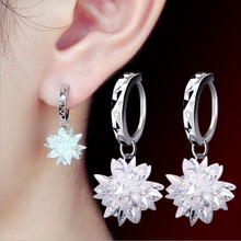 2016 new arrival high quality fashion ice flower 925 pure silver ladies`drop earrings jewelry wedding gift promotion