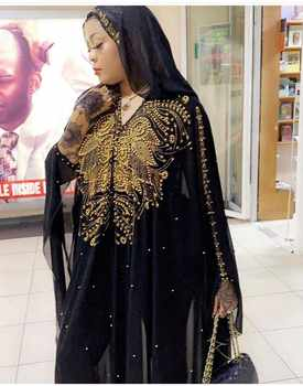 Plus Size African Dresses for Women Dashiki Diamond Beads African Clothes Abaya Dubai Robe Evening Long Muslim Dress Hooded Cape - DISCOUNT ITEM  40% OFF All Category