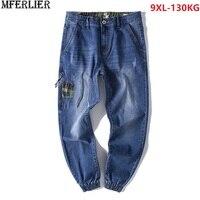 men jeans zipper plus size big large ankle length jeans hipster camouflage 8XL 9XL 44 46 loose pants pocket elasticity scratched