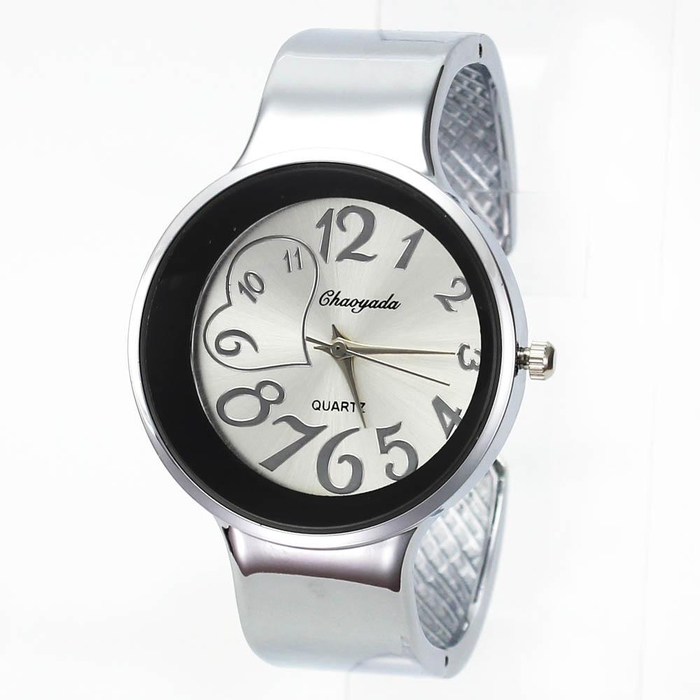 Fashion Heart Charm Women Wide Cuff Bangle Bracelet Jewelry Watch Quartz Wristwatch