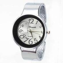 Fashion Heart Charm Women Wide Cuff Bangle Bracelet Jewelry Watch