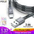 PZOZ cable usb para iphone Xs max Xr X 8 7 6 cable más 6s 5 5s 5c se s iphone 6 ipad 2018 aire mini 4 datos cargador rápido 2m cable de iluminación teléfono móvil adaptador de carga cable USB plano cable 3.0