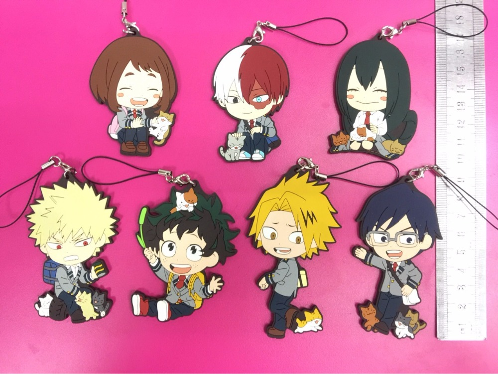 7 Pcs/set Anime Boku no hero academia PVC phone strap Keychain pendant toy My Hero Academia pendant toys gifts