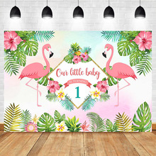 Flamingo First Birthday Party Backdrop Floral Greenery Little Baby 1st Photography Background Summer
