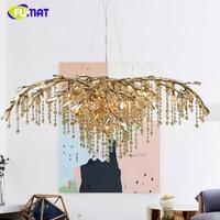 FUMAT American Vintage Crystal Chandelier LED Artist Metal Light For Living Room Hotel Creative Resturant K9 Crystal Chandeliers