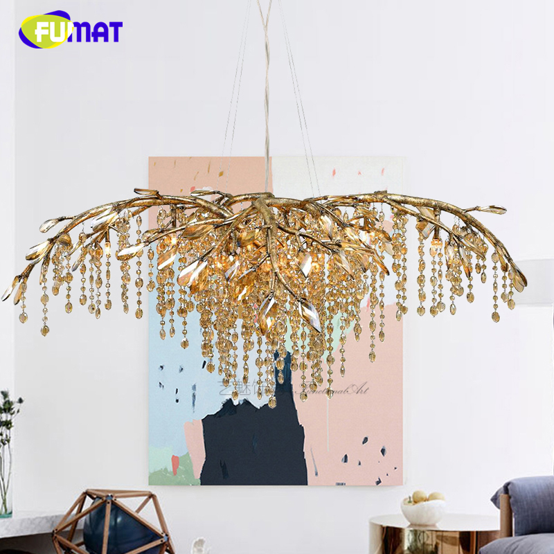 FUMAT Living Room Chandelier LED Crystal Lustre Branch Chandelier Led Light For Bedroom Dining Room Indoor Lighting