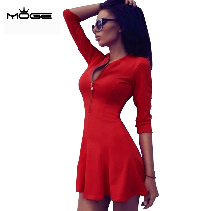MOGE 2016 dress women red summer style short A line office dress ...
