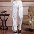 Blanco Chino Masculino Satén Pantalones Hombres Pantalones de Kung Fu Wushu Tai Chi Ropa masculina roupas Tamaño M A XXXL 2519-4