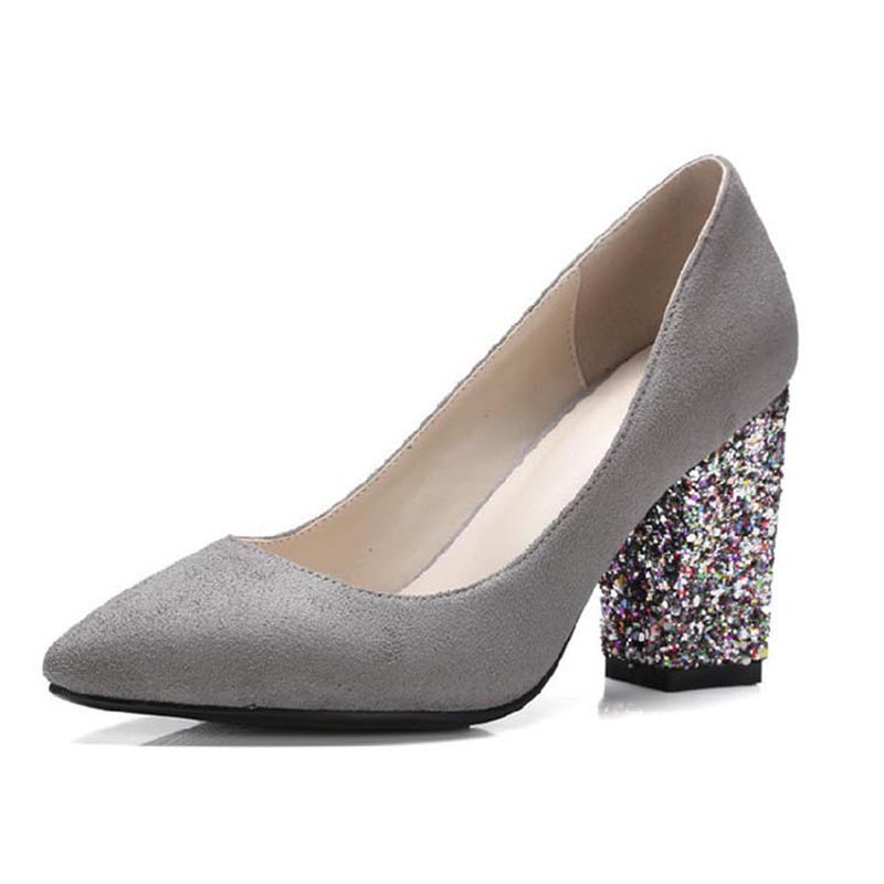 ФОТО Sexy Pointed Toe Shallow Mouth Slip-on Women Pumps Fashion Glitter Square Heels Pumps For Women New Ladies Elegant Wedding Shoes