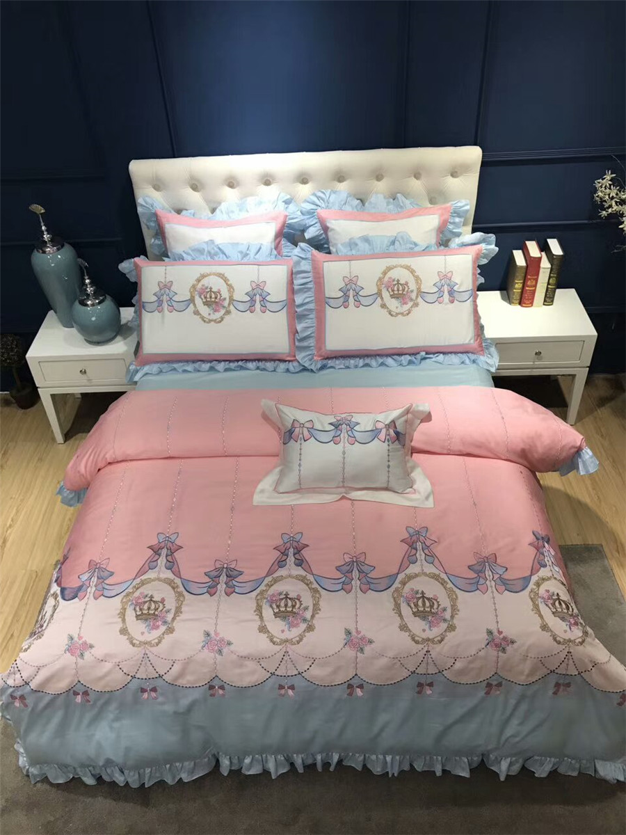Princess Pink style Girls Bedding sets Luxury Egyptian cotton Crown Embroidery Queen King size Duvet cover Bed sheet set Gifts