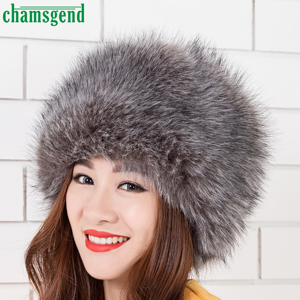 CHAMSGEND Hat Faux-Fur Winter Earmuffs Cap Female Women Fashion New Adult Solid -35 Knit