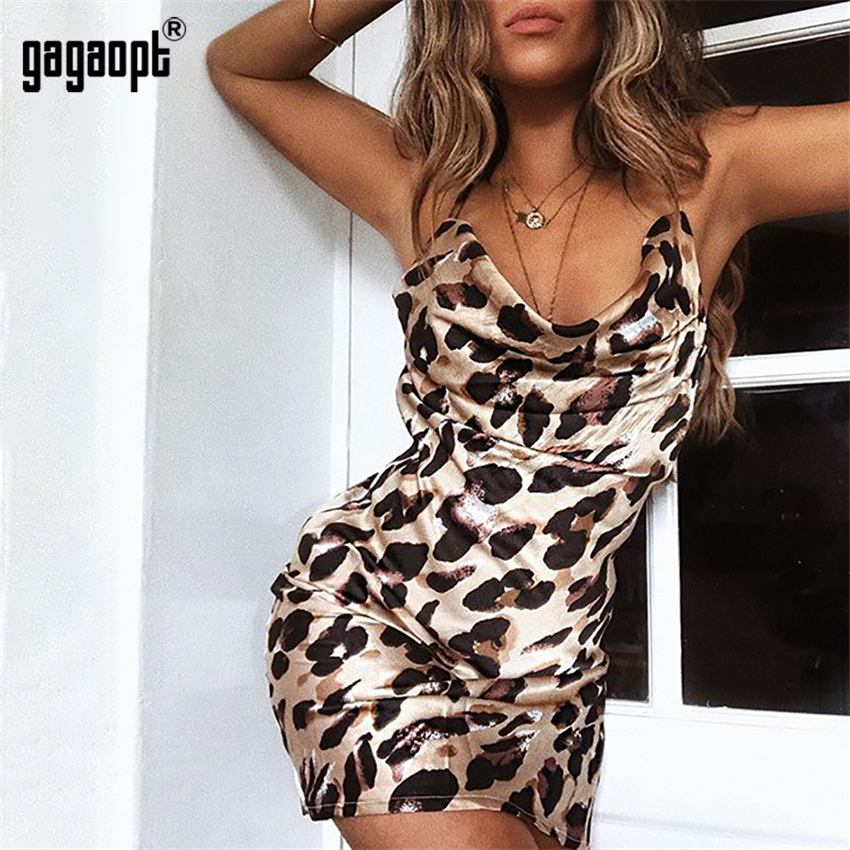 Gagaopt 2018 Fashion Leopard Dresses Causal Sleeveless Dresses Sexy Vintage Dresses for Party Vestidos Robes