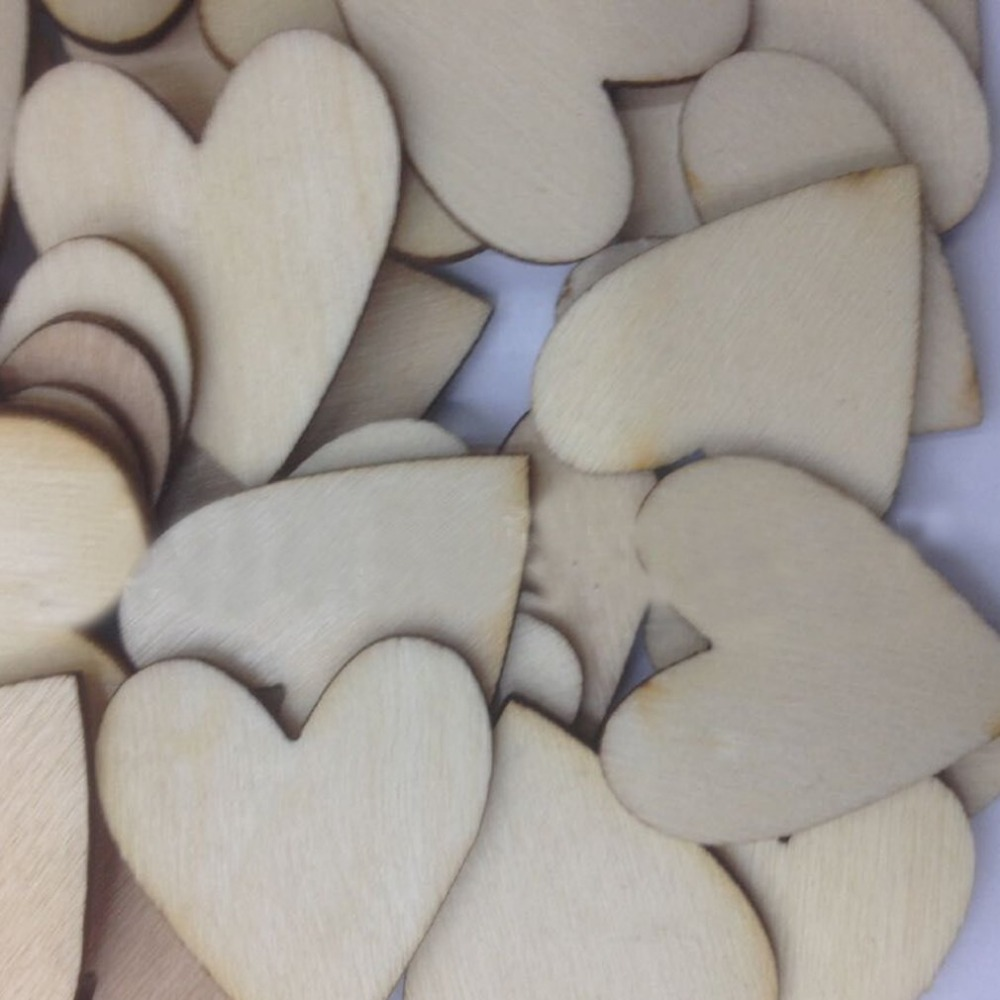 50pcs/set Rustic Wooden Love Heart Card Confetti Wedding Table Scatter Party Decoration Crafts Diy Decor Tool Banner Streamers Home & Garden
