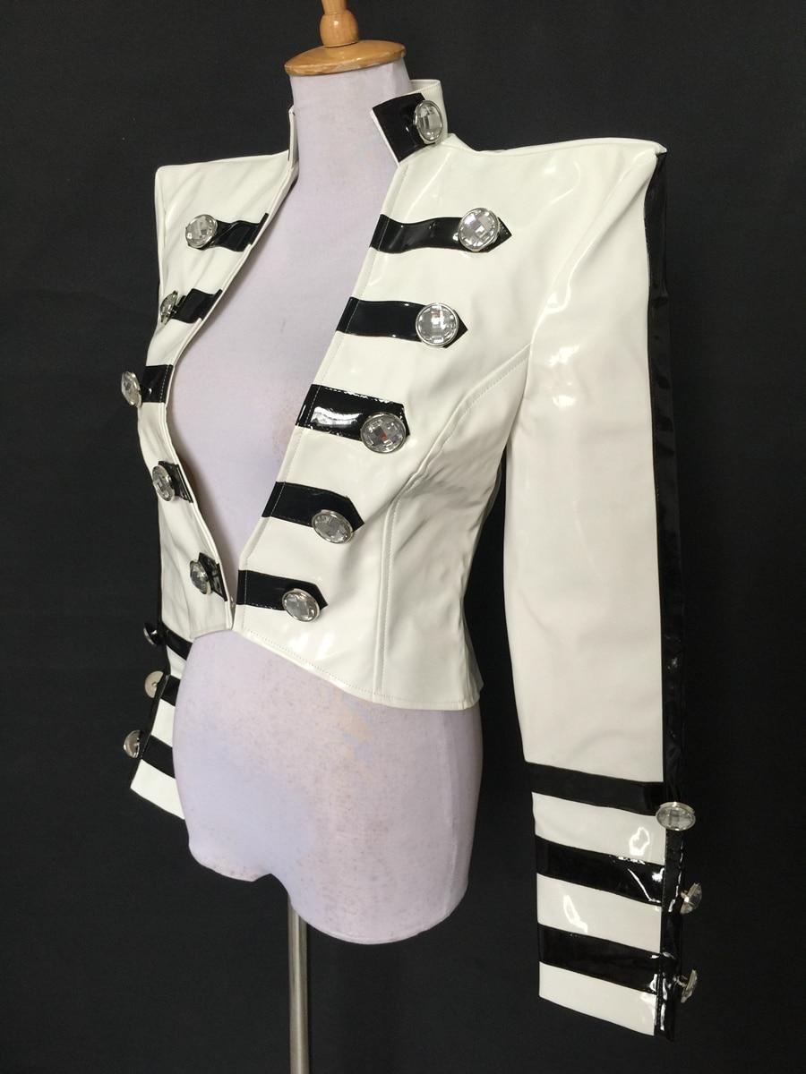 Costumi Cappotto Costume White Bar Di Vestiti Giacca Prom Scena Tuta Femminile Sportiva Prestazione Bianco Personalità Cuoio Marea Mostra Corta Sottile 0wOvNm8n